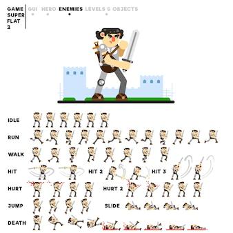 Animazione di un guerriero corazzato con una spada per la creazione di un videogioco
