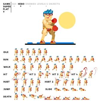 Animazione del ragazzo boxer per la creazione di un videogioco