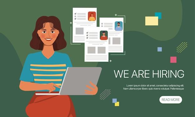 Animazione personaggio ritratto donna assunzione di lavoro posa. banner design piatto