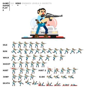 Animazione di un poliziotto con un fucile per la creazione di un videogioco