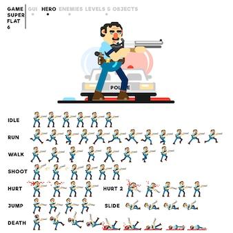 Animazione di un poliziotto con un fucile da caccia per la creazione di un videogioco