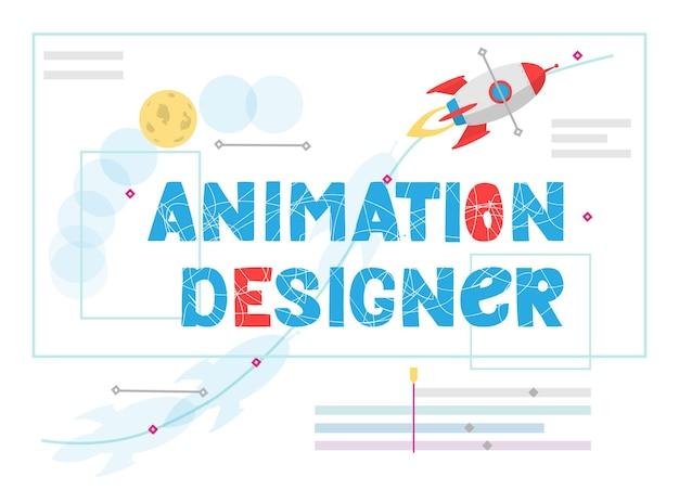 Iscrizione di vettore del progettista di animazione lavora al nuovo progetto artistico design piatto