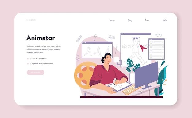 Banner web designer di animazioni o artista di landing page che crea digital