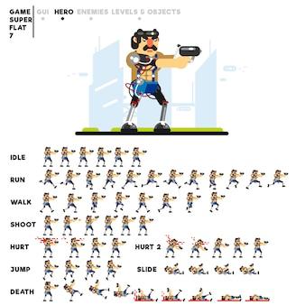 Animazione di un uomo futuristico con una pistola per la creazione di un videogioco