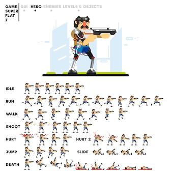 Animazione di un uomo futuristico con un fucile da caccia per la creazione di un videogioco