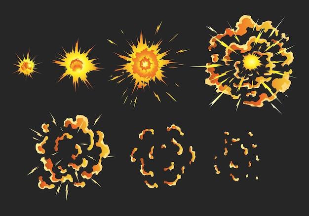 Animazione per il gioco dell'effetto esplosione Vettore Premium