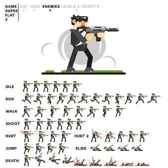 Animazione di un ragazzo in nero con un fucile per la creazione di un videogioco