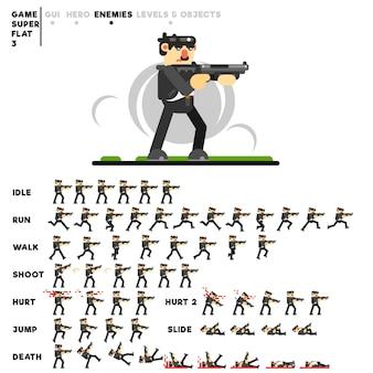 Animazione di un ragazzo in nero con un fucile da caccia per la creazione di un videogioco