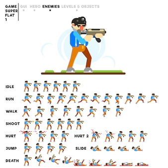 Animazione di un uomo con un automat per la creazione di un videogioco