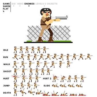 Animazione di un uomo con un fucile da caccia per la creazione di un videogioco