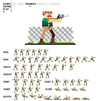 Animazione di un vecchio fuorilegge con una pistola per la creazione di un videogioco