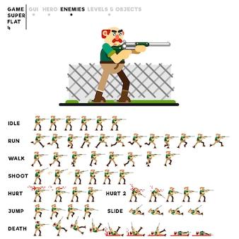 Animazione di un vecchio fuorilegge con un fucile da caccia per la creazione di un videogioco