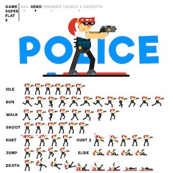 Animazione di una ragazza poliziotta con una pistola per la creazione di un videogioco