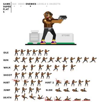 Animazione di un ragazzo sportivo con una pistola per la creazione di un videogioco