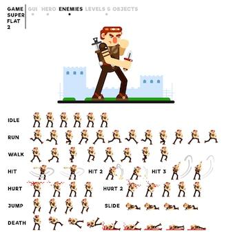 Animazione di un guerriero con un coltello per la creazione di un videogioco