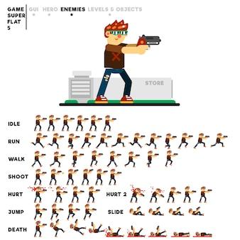Animazione di un giovane magro con una pistola per creare un videogioco