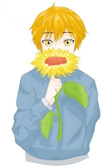 Personaggio giapponese del ragazzo anime