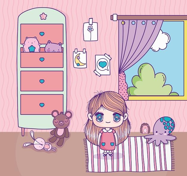 Ragazza carina anime con i giocattoli nella finestra della stanza del tappeto Vettore Premium