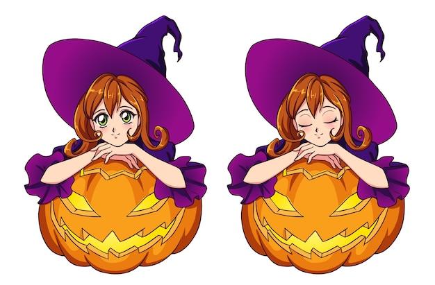 Anime carina strega con i capelli rossi che si siede su jack o lantern. illustrazione disegnata a mano