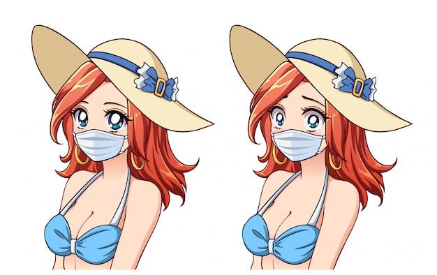 Anime donna carina che indossa cappello estivo, bikini e mascherina medica. set di due espressioni diverse. turismo coronavirus. illustrazione disegnata a mano