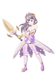 Capelli viola ragazza anime indossa costume viola giallo e porta la spada