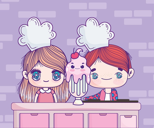 Bambini anime con milkshake