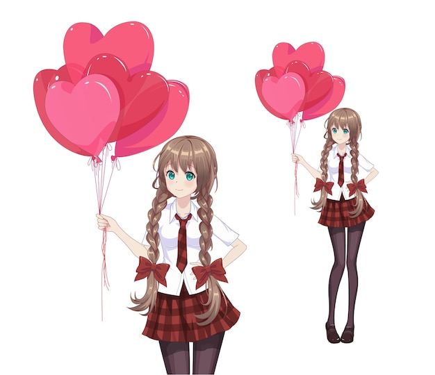 Anime manga girl stanno tenendo palloncini a forma di cuore