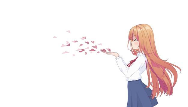 Ragazza manga anime che soffia un bacio isolato su bianco
