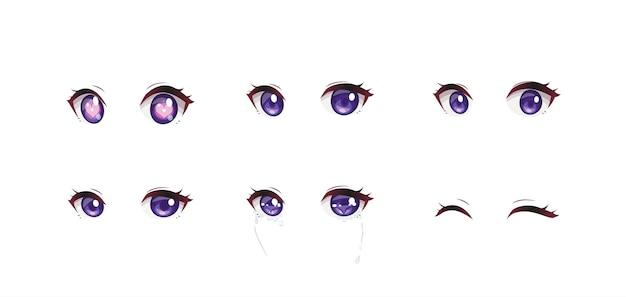 Set di occhi di espressioni di anime manga girl