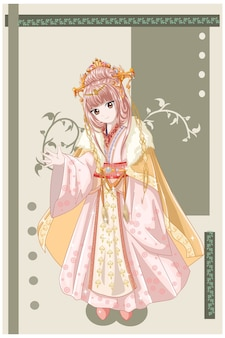 Personaggio in stile anime una bella consorte imperatrice dell'illustrazione del regno antico