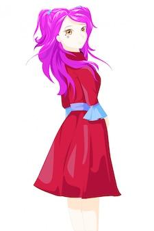 Illustrazione di vettore del carattere della ragazza di stile del anime