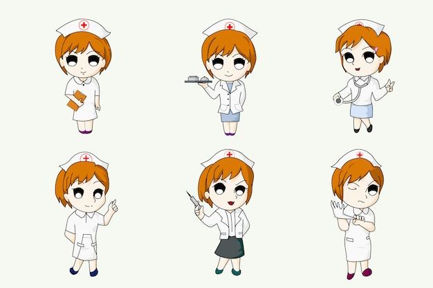 Anime style nurse character design cartoon