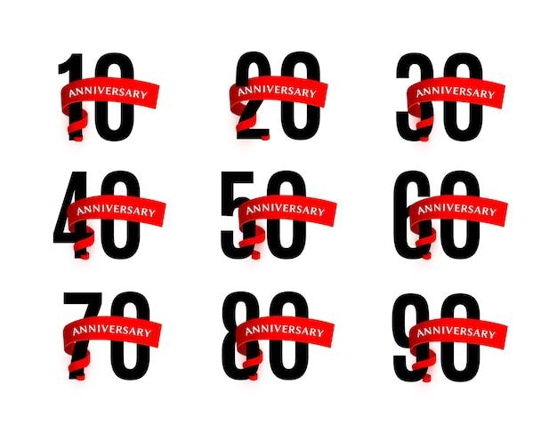 I numeri degli anniversari con le illustrazioni vettoriali del nastro rosso impostano i numeri neri con le bande cremisi