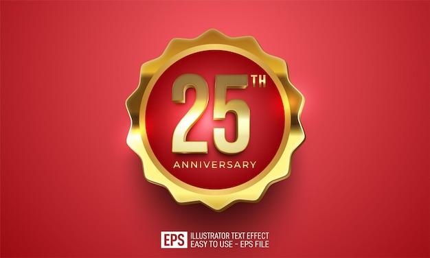 Anniversario 25 ° celebrazione decorazione sfondo rosso