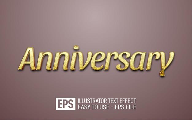 Modello di effetto stile modificabile di testo 3d anniversario