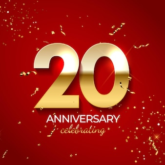 Decorazione di celebrazione di anniversario, numero d'oro 20 con coriandoli, glitter e nastri di stelle filanti su sfondo rosso.