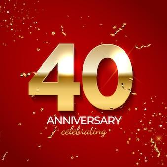 Decorazione di celebrazione di anniversario, numero d'oro 40 con coriandoli, glitter e nastri di stelle filanti su sfondo rosso.