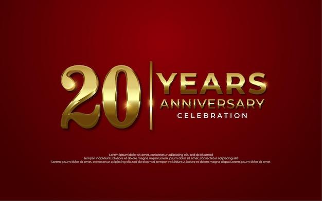 Celebrazione dell'anniversario decorazione lusso dorato numero 20 sfondo rosso