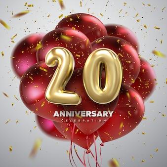 Celebrazione dell'anniversario. numeri d'oro con coriandoli scintillanti e palloncini multicolori volanti.