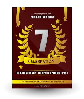 Celebrazione dell'anniversario numeri con corona di foglie stelle nastri illustrazione vettoriale