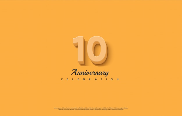 Celebrazione dell'anniversario con numeri in arancione.