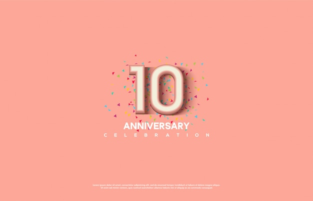 Celebrazione dell'anniversario con numeri sfumature di rosa.