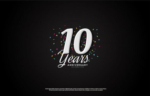 Celebrazione dell'anniversario con numeri bianchi che appaiono.