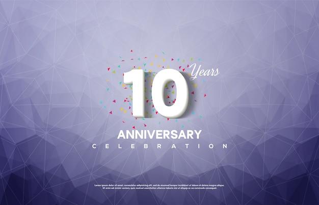 Celebrazione dell'anniversario con numeri bianchi su sfondo blu astratto.