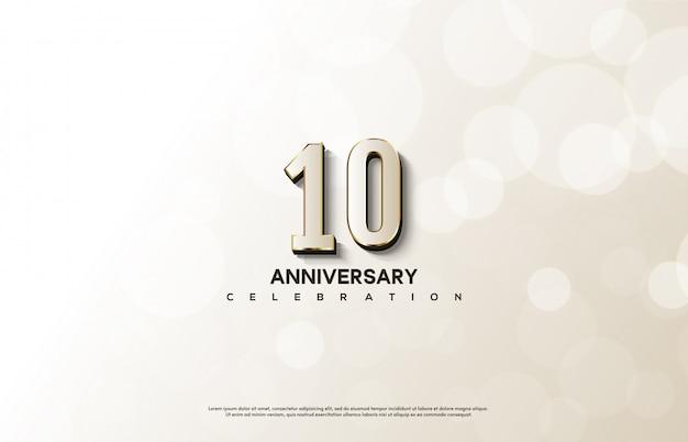 Celebrazione dell'anniversario con numeri bianchi con eleganti linee dorate.