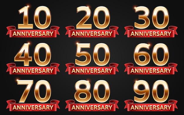 Modello di disegno di anniversario con numeri d'oro per carta di invito