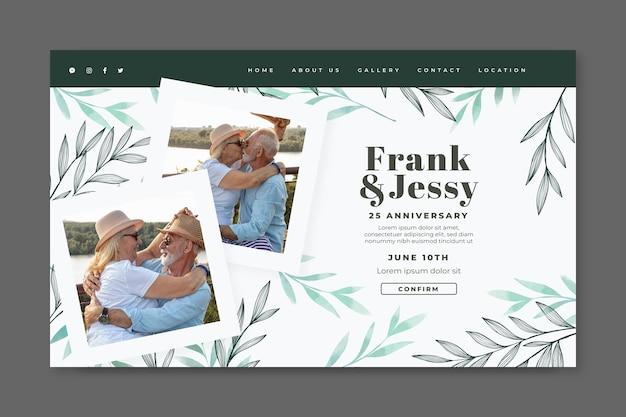 Modello di pagina di destinazione del matrimonio felice anniversario