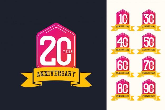 Modello di logo di anniversario.