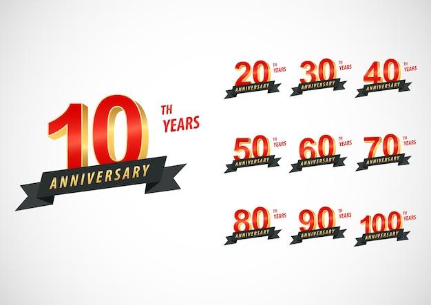 Set di logotipi di anniversario