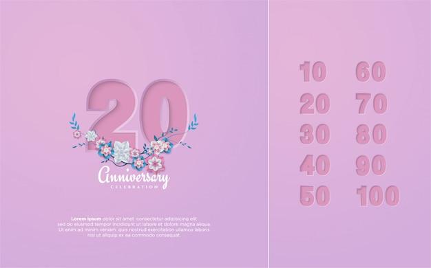 Numero anniversario 10 100 con l'illustrazione di figure e fiori tagliati di carta.